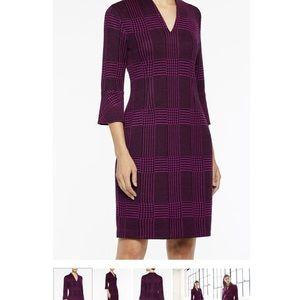 Ming Wang viola black plaid knit dress NWT small